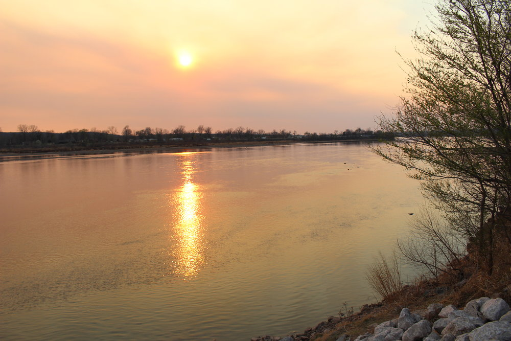 Sunset over the Arkansas River, as seen from the mouth of Euchee Creek. (Photo: Scott Emigh).