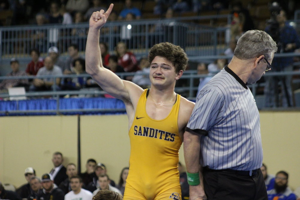 Jack Karstetter made the finals as a junior, and won his first State Championship as a senior.