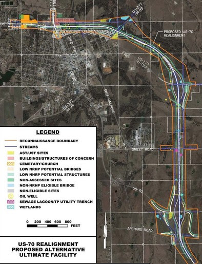 Planned realignment of US-70 was around Madill, pictured here, was removed from the Oklahoma Department of Transportation's Federal Fiscal Year 2018-2025 Eight-year Construction Work Plan.
