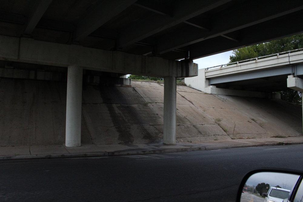 Underside of US64 overpass at Main Street.JPG