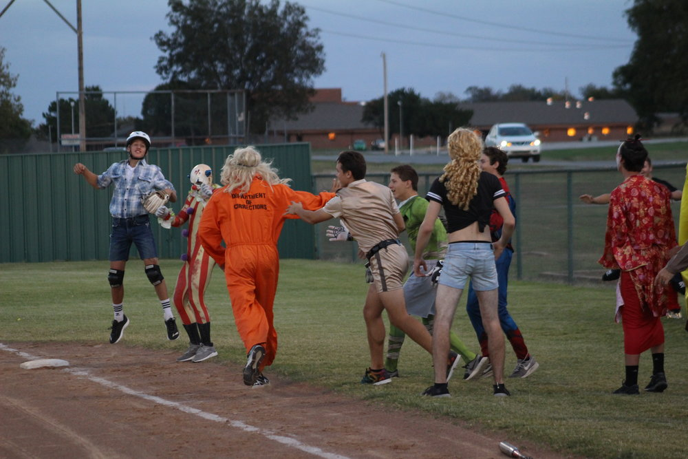Sand Springs Assistant Coach Scott Watkins hit a home run for the Baseball team in the second annual Monster Ball. (Photo: Scott Emigh).