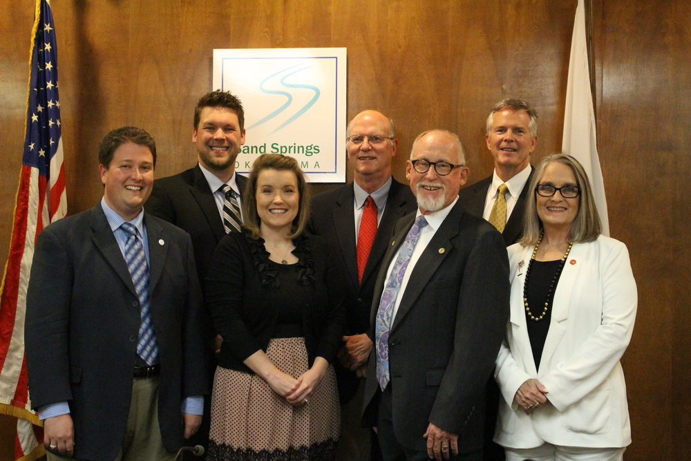 Left to right: City Council members Brian Jackson, Beau Wilson, Christine Hamner, Jim Spoon, Mike Burdge, Phil Nollan, Patty Dixon. (Photo: Scott Emigh).