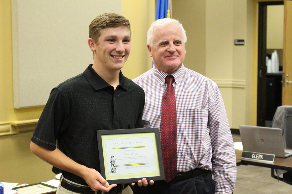 Nov. 06, 2017. Board of Ed member Mike Mullins presents Carson Griggs with the Sandite Spirit Award.