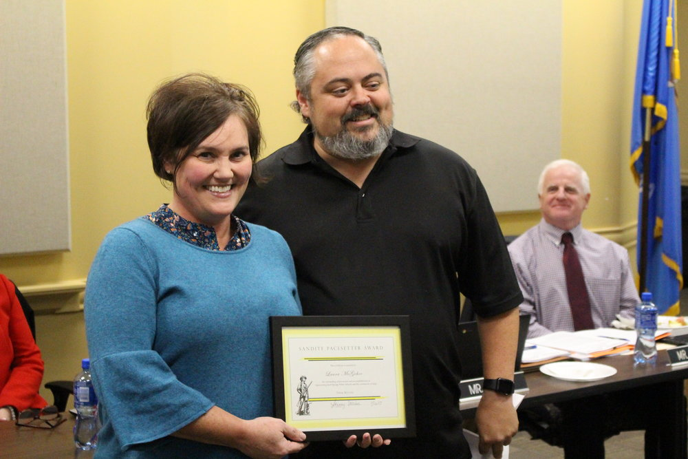 Nov. 06, 2017 Board of Ed President Rusty Gunn presents Laura McGehee with the Pacesetter Award.