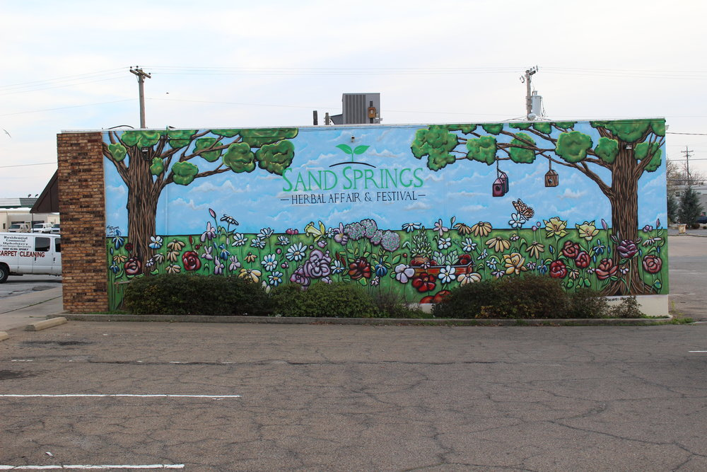 sand springs herbal affair & festival mural by Laura thompson - downtown 216 north lincoln avenue