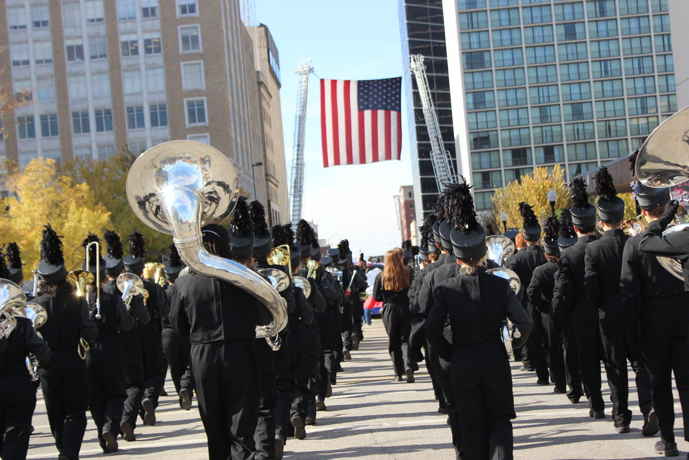 The CPHS 2017-2018 Marching Band performs in the Tulsa Veteran's Day Parade 171111 (Tristia Watson, Courtesy).JPG