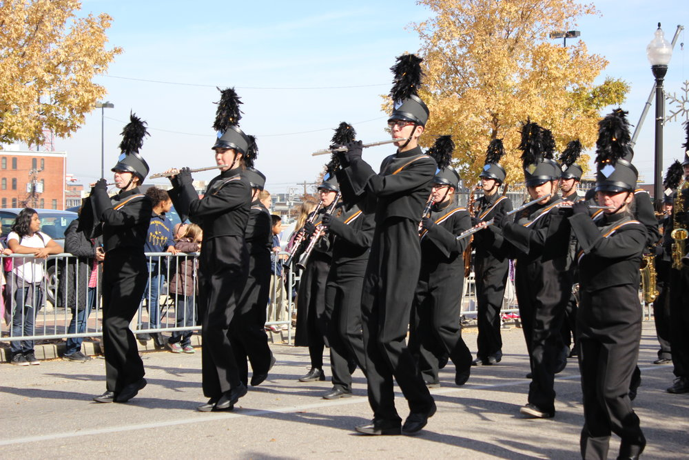The CPHS 2017-2018 Marching Band performs in the Tulsa Veteran's Day Parade 171111 (Tristia Watson, Courtesy) 002.JPG