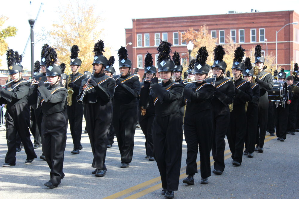 The CPHS 2017-2018 Marching Band performs in the Tulsa Veteran's Day Parade 171111 (Tristia Watson, Courtesy) 003.JPG