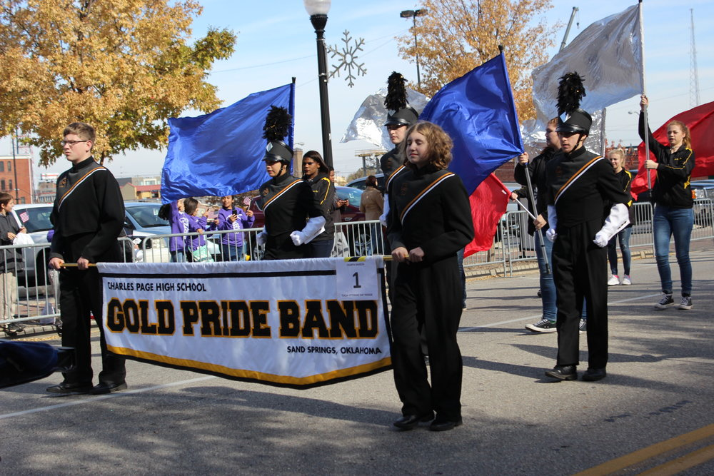 The CPHS 2017-2018 Marching Band performs in the Tulsa Veteran's Day Parade 171111 (Tristia Watson, Courtesy) 005.JPG