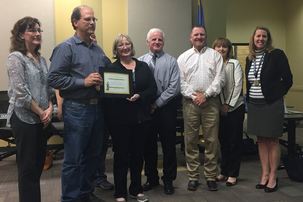 Nov. 07, 2016. The Sand Springs Board of Education presents David and Jeanie Kvach with the Sandite Spirit Award.