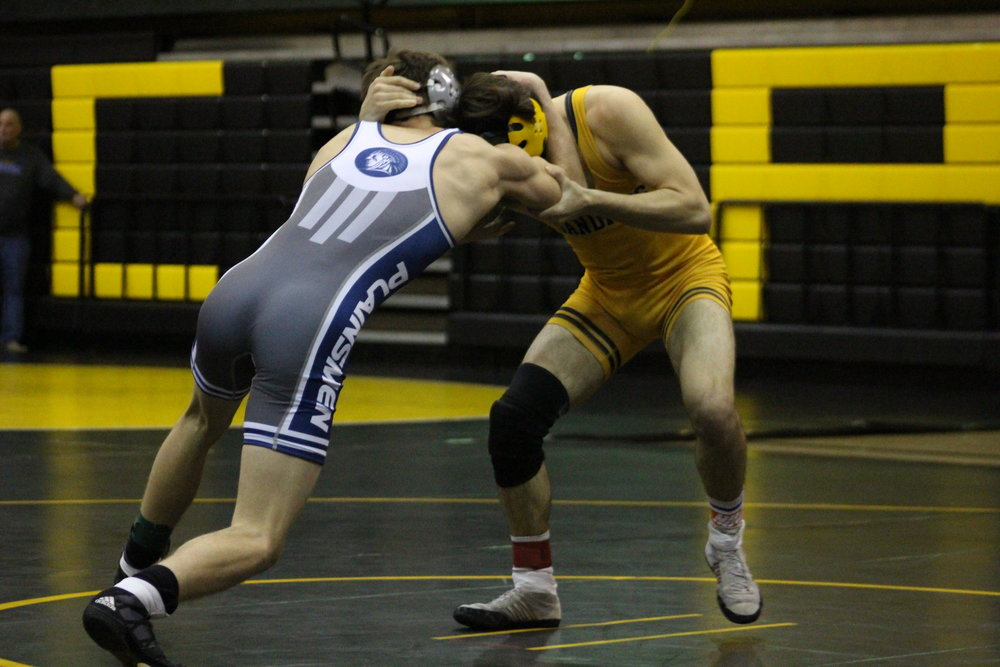 Pictured: Blake Sargent takes on an Enid wrestler at the 2017 East-Regional Tournament. Sargent took third at last weekend's IceFighter Open. (Photo: Scott Emigh)