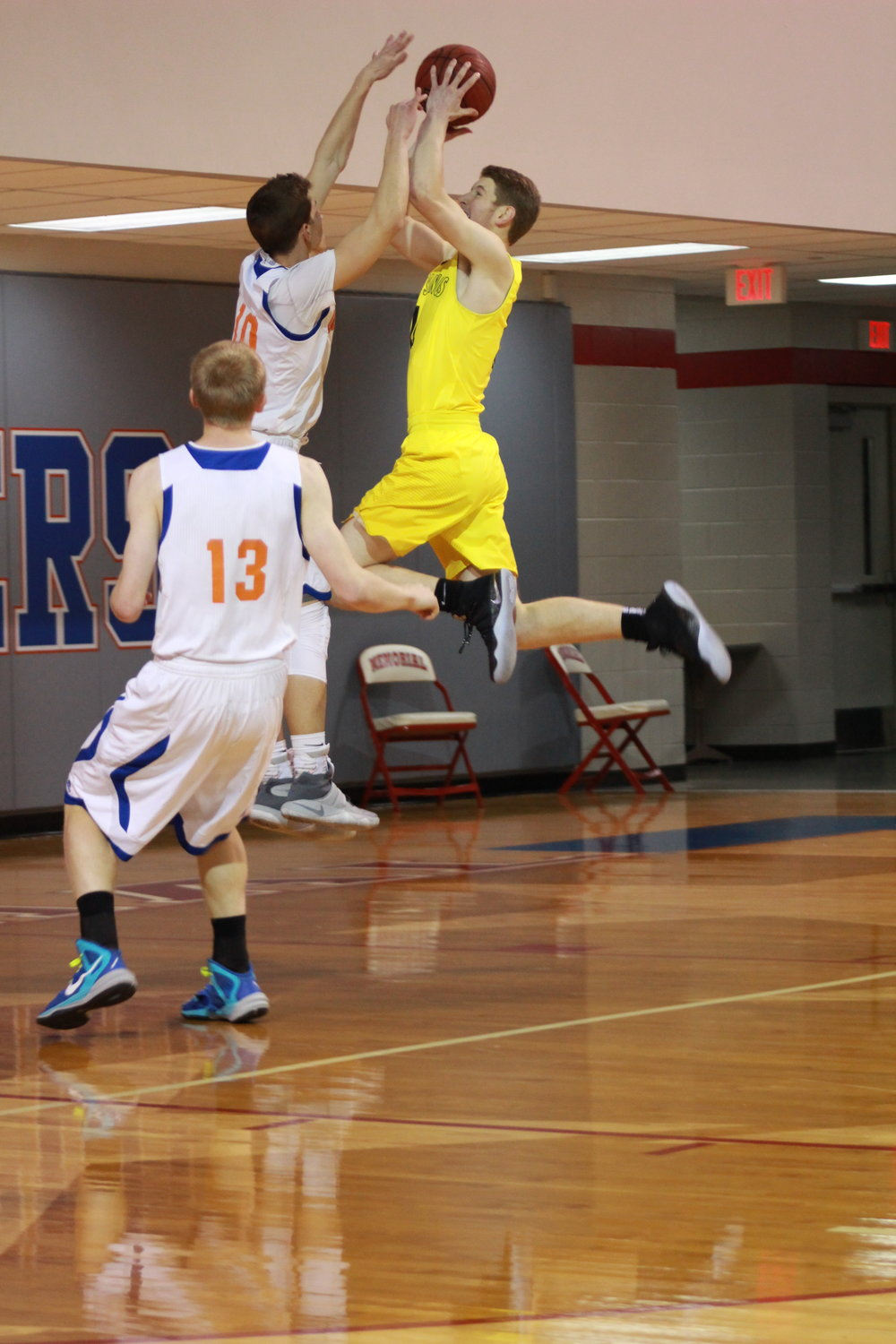 Colt Savage goes for a big jump shot in a game against Wichita. (Photo: Morgan Miller).