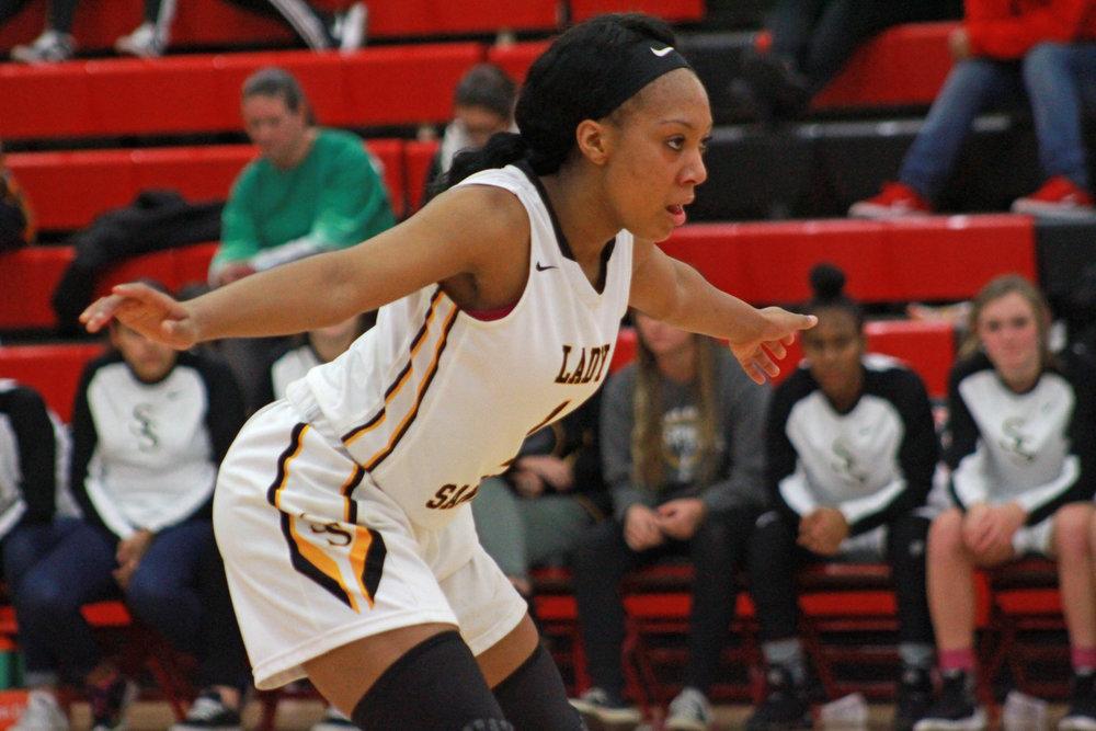 Destiny Johnson guards a Shawnee player during the 2016-2017 season. (Photo: Morgan Miller).