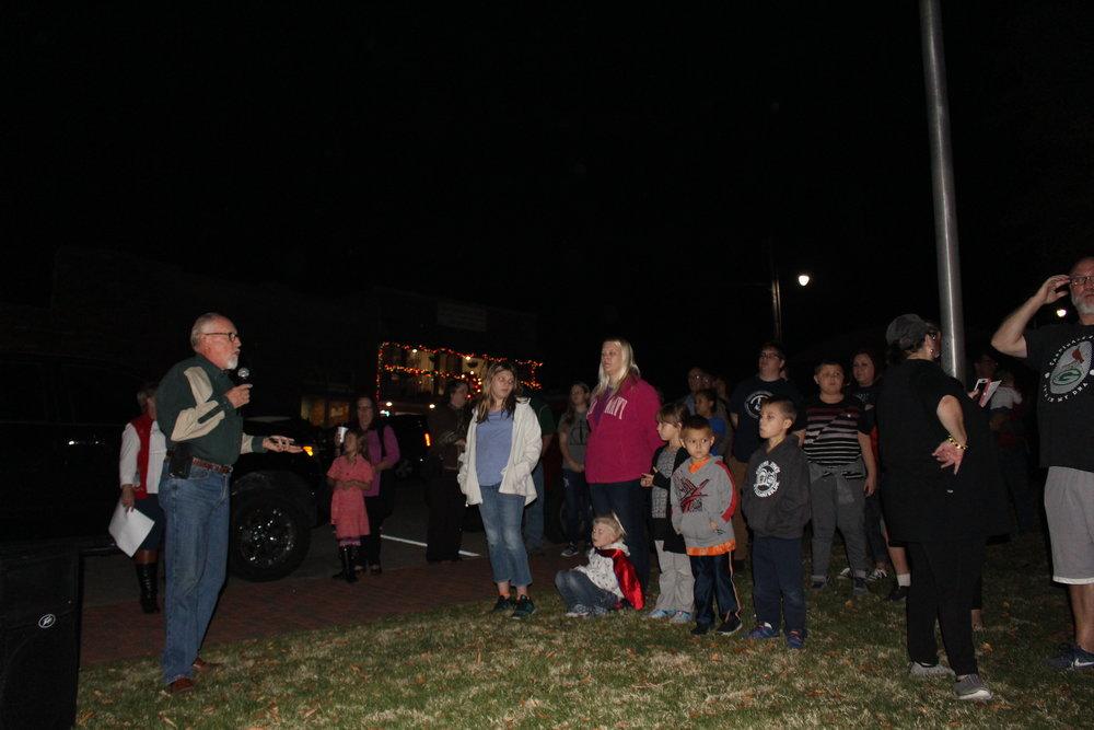 Mayor Mike Burdge speaks at the Inaugural Christmas Tree Lighting ceremony. (Photo: Scott Emigh).
