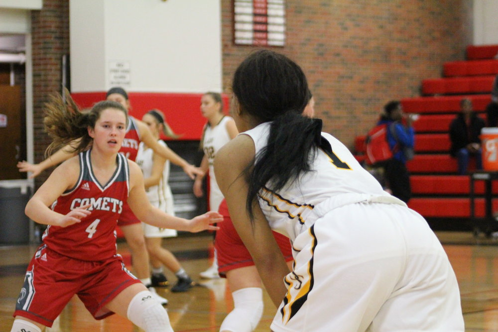 Destiny Johnson scored a game-high sixteen points against Bishop Kelley Friday night.