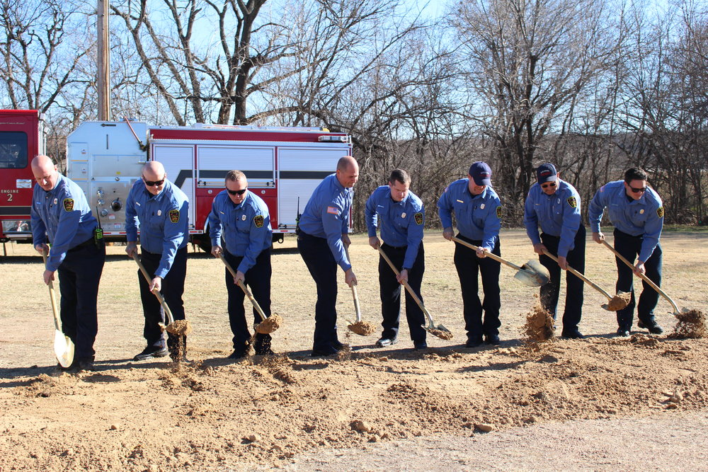Members of the Sand Springs Fire Department turn dirt at the Fire Station No. 2 Ground-Breaking Ceremony.