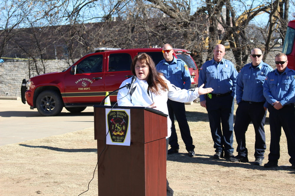City Manager Elizabeth Gray speaks at the Fire Station No. 2 Ground-Breaking Ceremony.