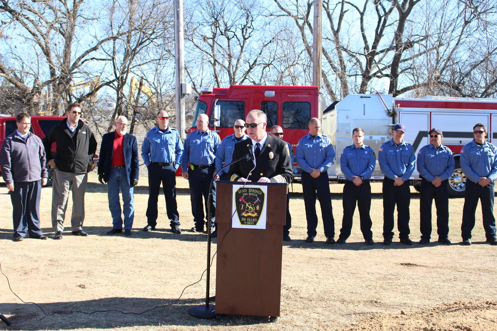 Fire Chief Mike Wood speaks at the Fire Station No. 2 Ground-Breaking Ceremony.