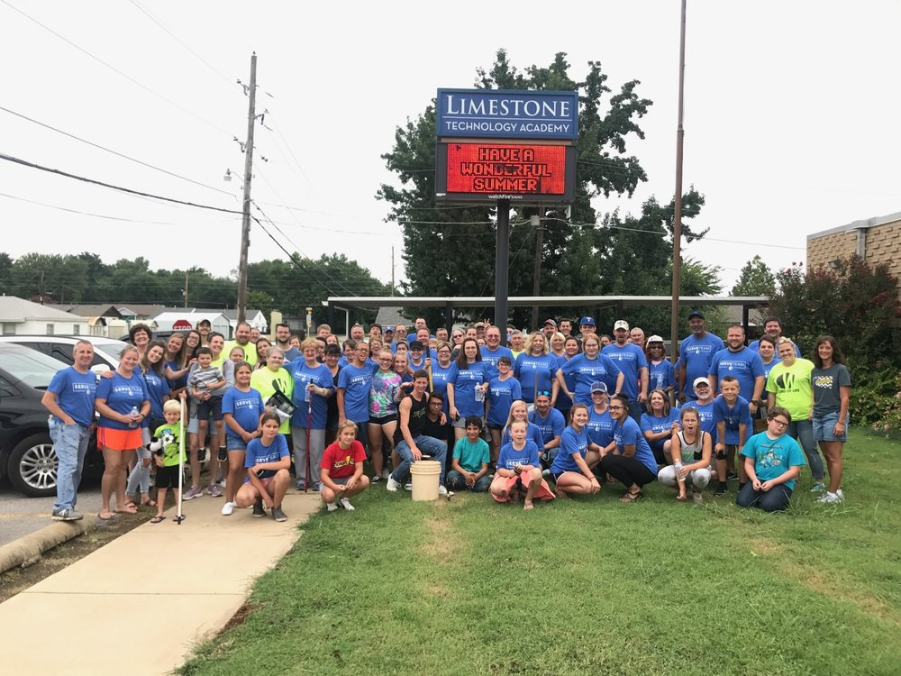 Volunteers from Word of Life church put in a work day at Limestone Elementary, painting and gardening. (Photo: Micah Felts).