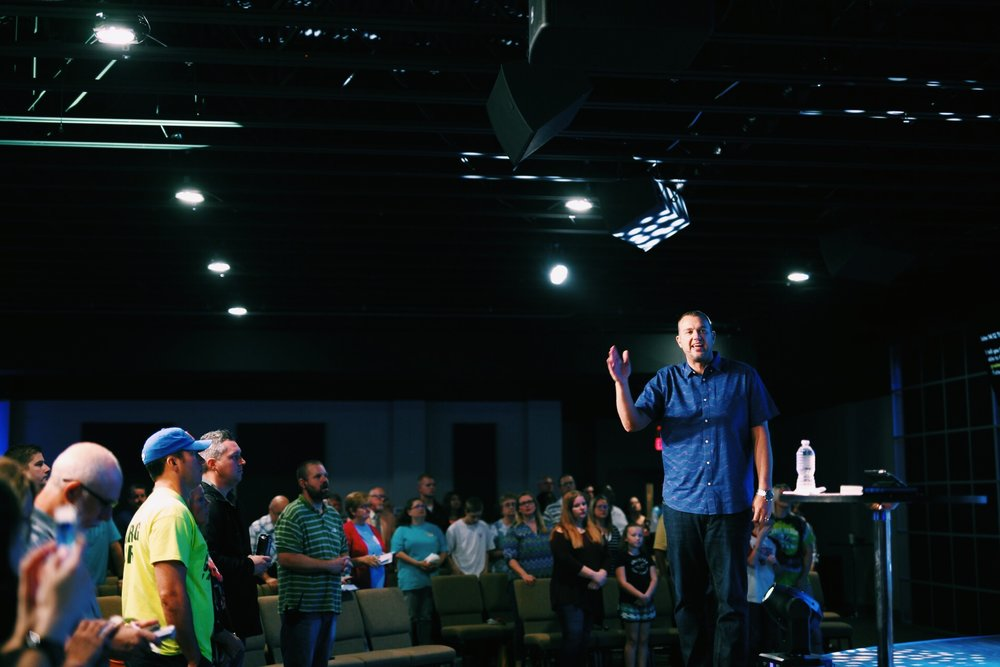 Lead Pastor Chad Stewart preaches at a Sunday Service at Word of Life. (Courtesy).