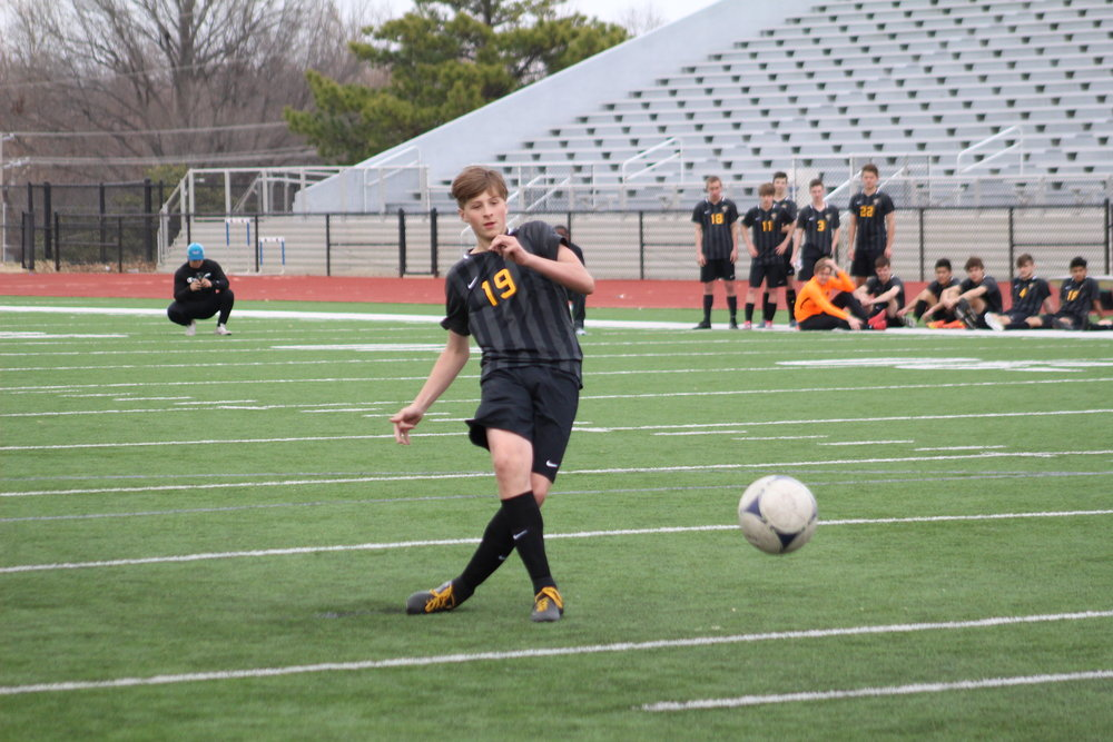 Sandite freshman Cameron Summerton made the game-winning penalty kick in an overtime shootout. (Photo: Scott Emigh).