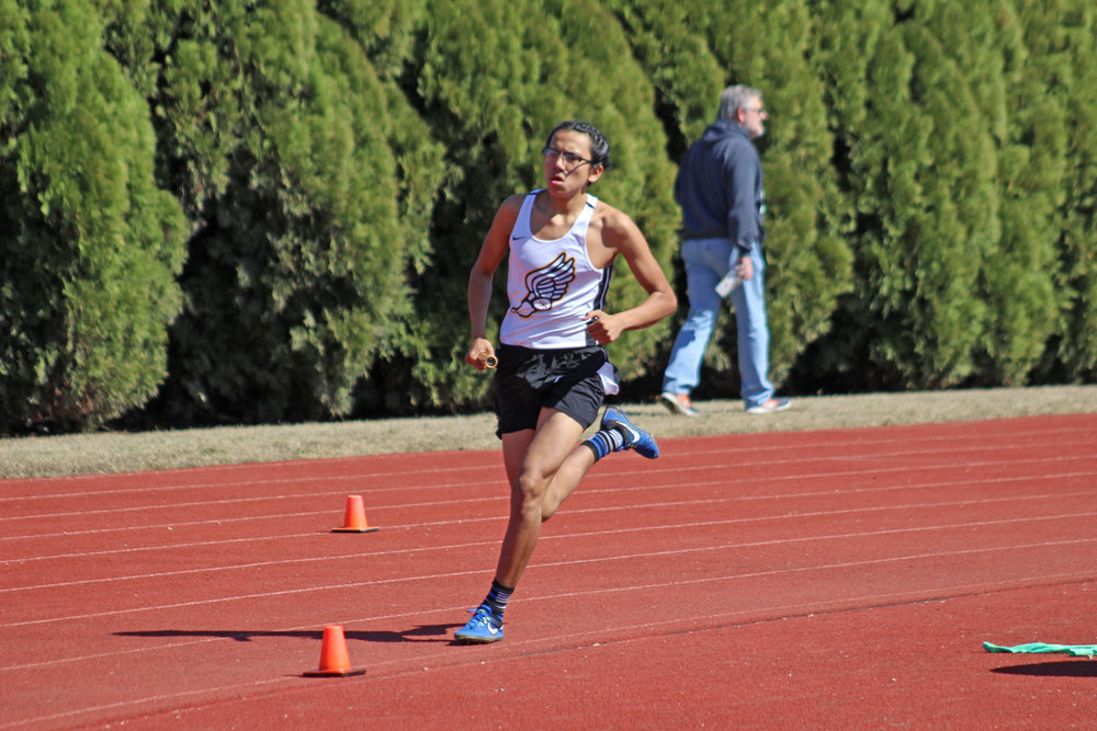 Nelson Yazzie ran the third leg of the 4x800 relay, helping set the third-best time in school history.