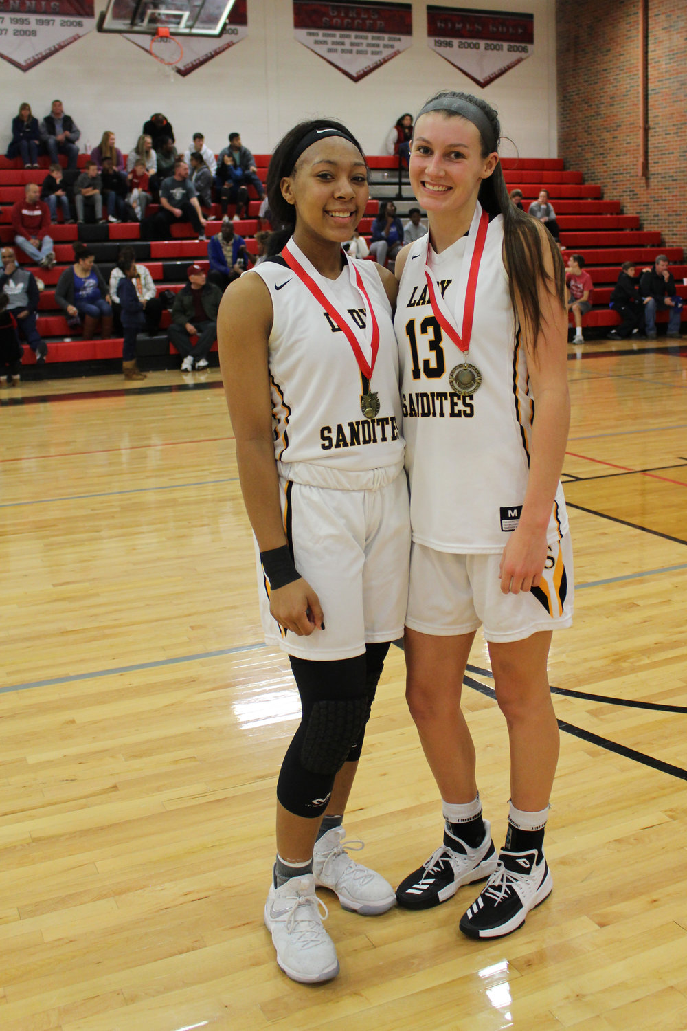 Charles Page High School juniors Destiny Johnson (left) and Holly Kersgieter (right) were named to the Frontier Valley Conference First Team for the 2017-2018 season. (Photo: Scott Emigh).