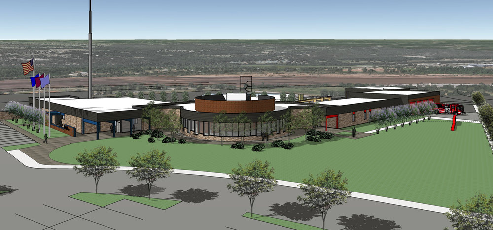 Conceptual rendering of Bilile A. Hall Public Safety Center by Dewberry Architects.