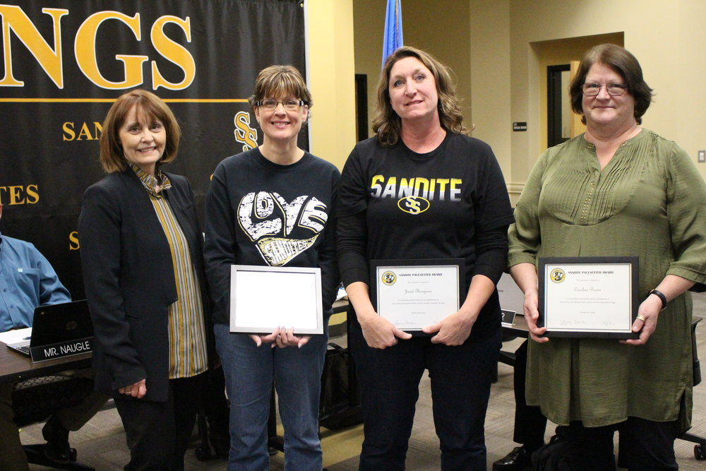 Apr. 02, 2018 Board Member Jackie Wagnon presents Andrea Bays, Carolyn Brown, and Janet Thompson with Pacesetter Awards.