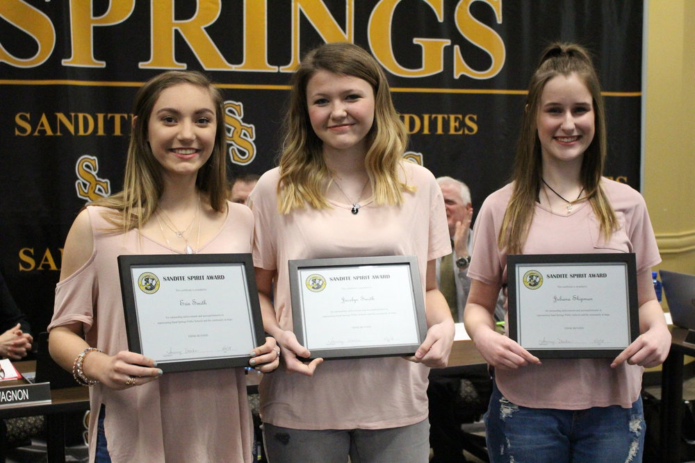 apr. 02, 2018. Juliana Shipman, Jacelyn Smith, and Erin Smith receive Sandite Spirit Awards.
