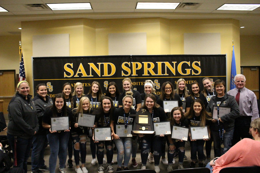 The Sandite Softball team is presented with Sandite Spirit Awards for their Academic State Champion title.     Click here to view full photo gallery.