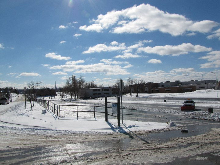 The Charles Page High School campus under a blanket of snow following a 2011 blizzard.