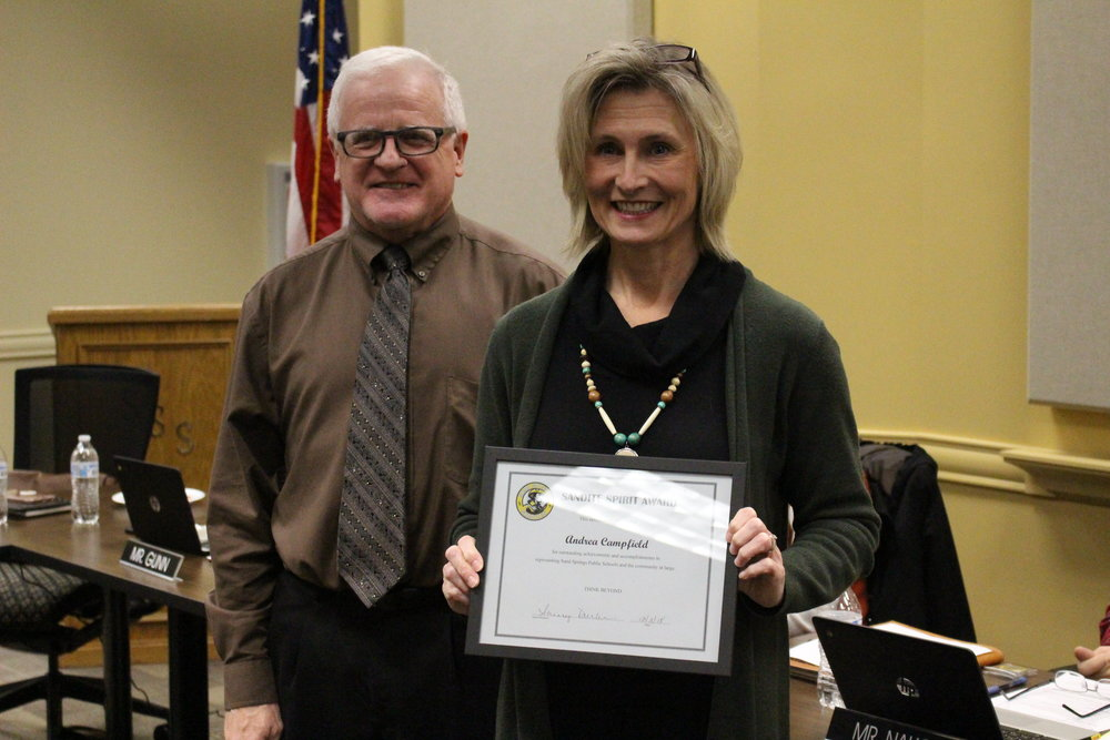 CPHS Drama Instructor Andrea Campfield receives a Sandite Spirit Award. Click here to view full photo gallery.