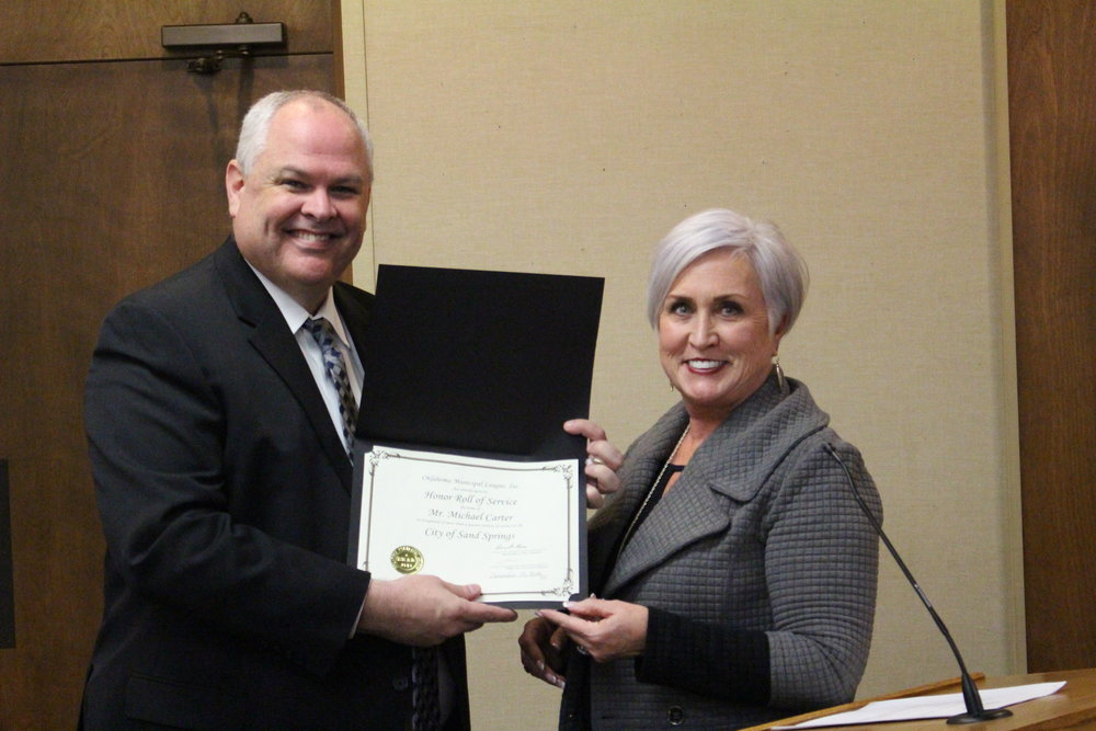Police Chief Mike Carter was recognized for 25 years of service at Monday's City Council meeting.