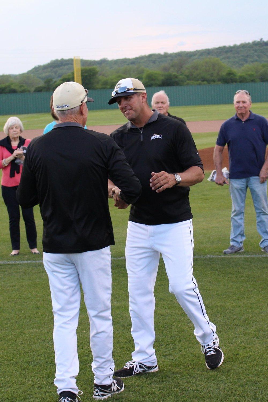 Scott Watkins is recognized alongside fellow All-State Sandites before a 2017 baseball game.