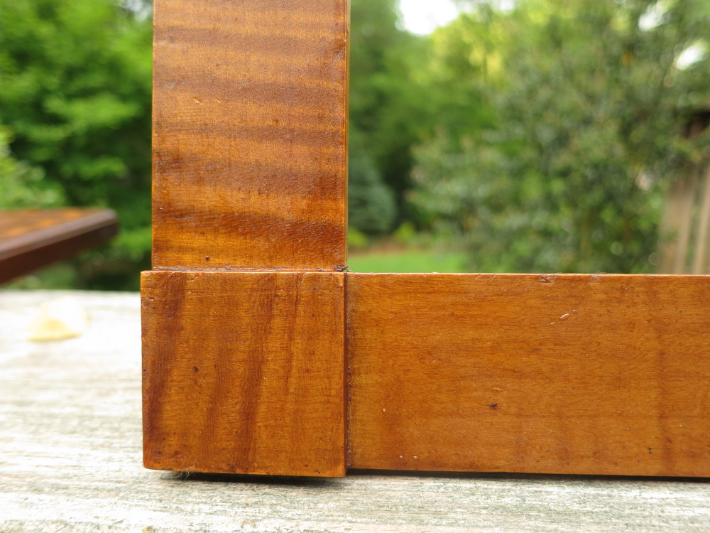 c1830 Early American Hicks Style Corner Block Tiger Maple Frame<br ...