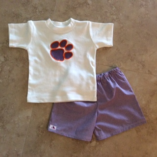 Boys purple gingham set