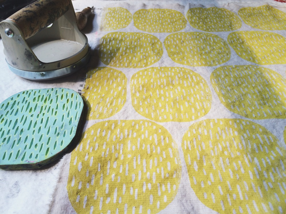Pods in Yellow, Block Printing, Sarah Golden