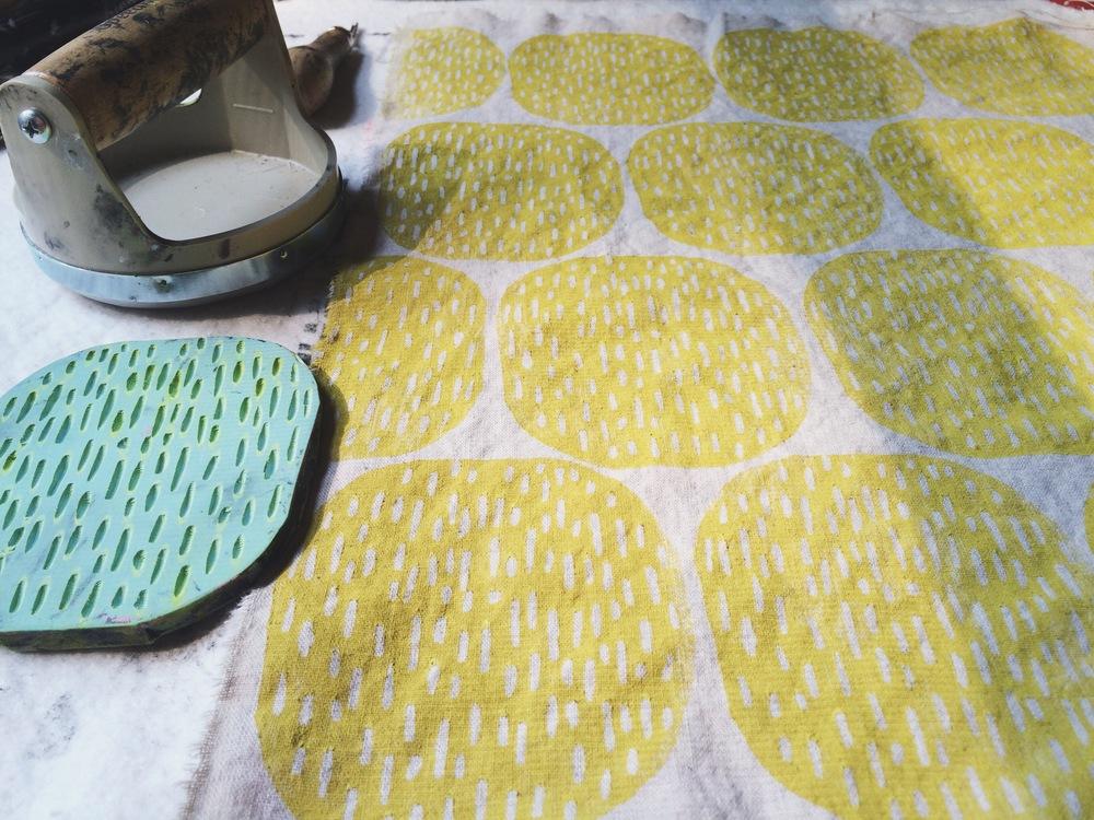 Pods in Yellow, Block Printing, Sarah Golden