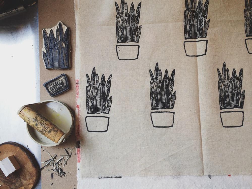 Snake Plant Block Print, Sarah Golden