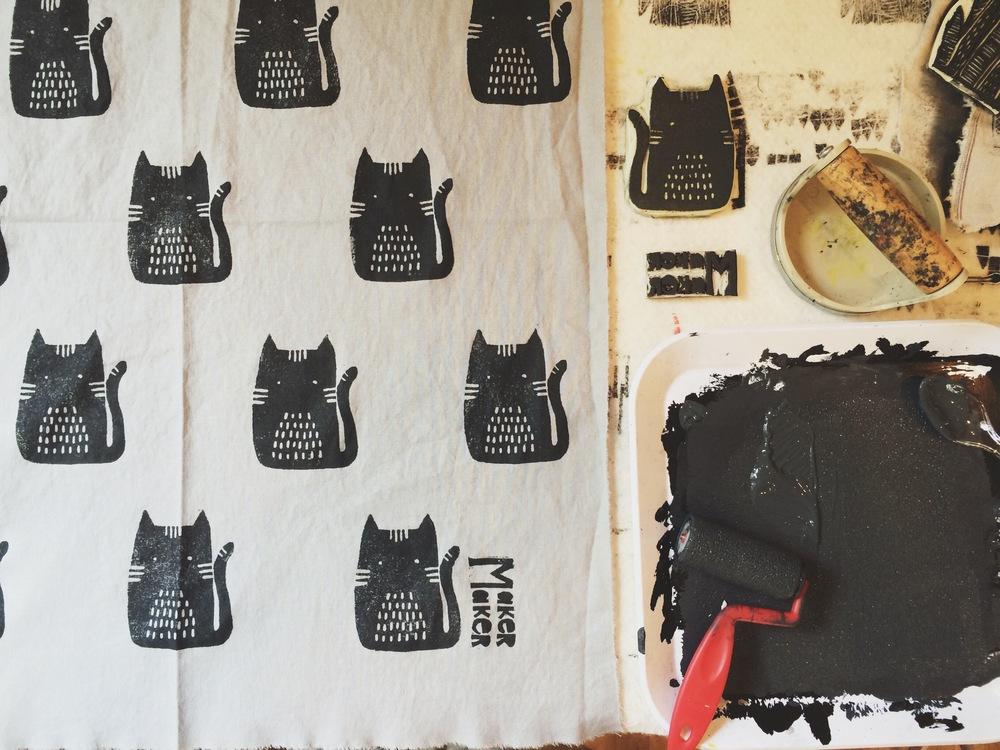 Cats, Block Printing, Sarah Golden
