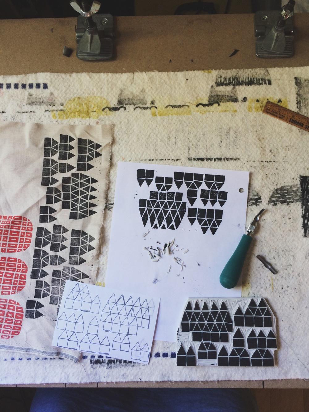 Sketching and carving blocks for printing, Sarah Golden