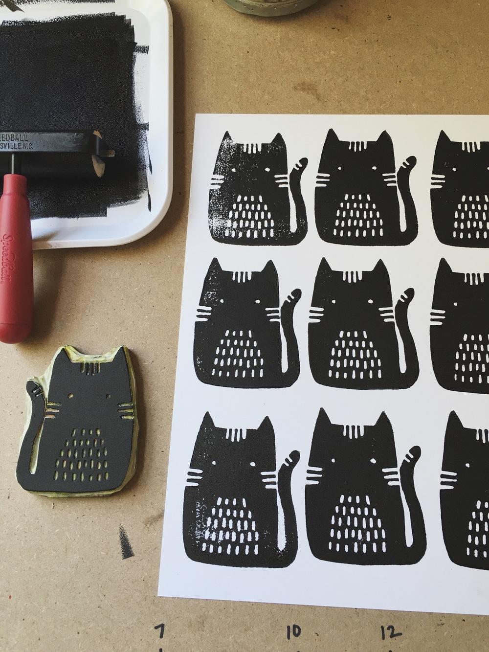 Cats, Block Print, Sarah Golden