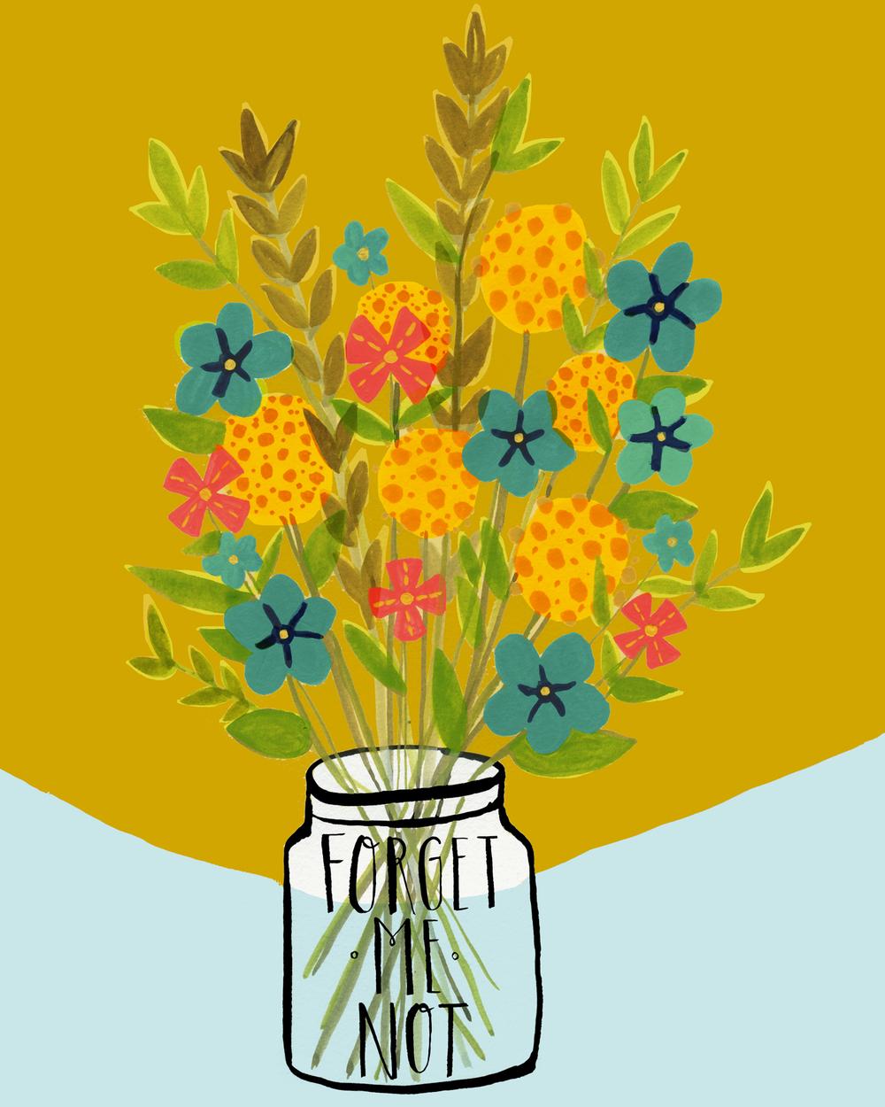 Forget Me Not Bouquet, gouache on paper, Sarah Golden