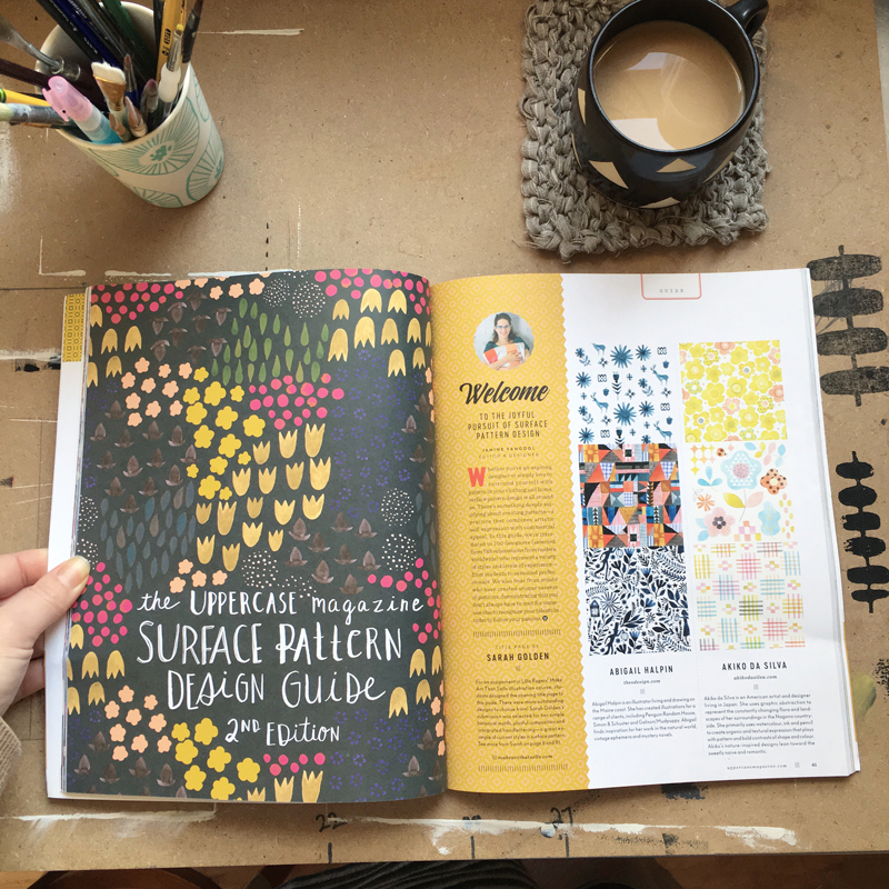 Here's a post on the Uppercase Magazine blog about my work in the newest Uppercase Magazine issue #32. I designed the title page of the Surface Pattern Design Guide and my artwork is featured among 100 surface pattern designers! Click the photo above to go have a read. If you're an art director or creative director looking to license or commission artwork, please get in touch via email at hello@sarahgolden.org.