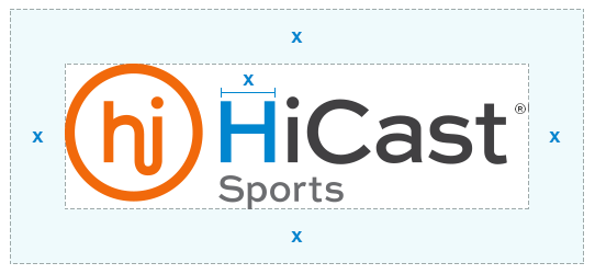 "Clear space is defined by the width of the ""H"" in ""HiCast"""
