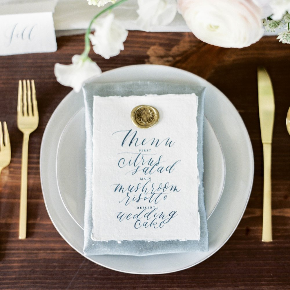 TYGE STYLED SHOOT   INVITATION SUITE, MENU, PLACE CARDS