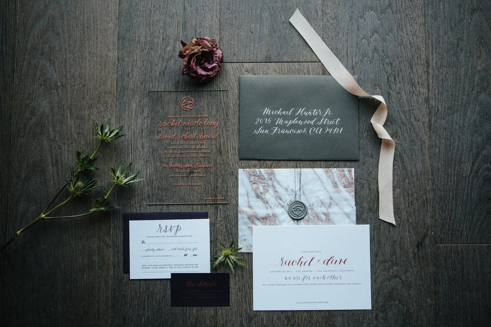 RACHEL + DAVE'S WEDDING   SAVE THE DATE, INVITATION SUITE, MENU, CEREMONY PROGRAM, AGATE PLACE CARDS, ACRYLIC SEATING CHART