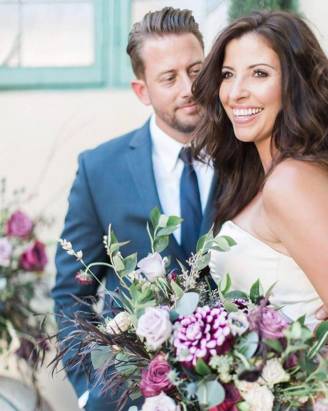 Find a man who looks at you like this ❤️ Bronzed Goddess of a bride that I had the honor of dolling up 👰🏻! Photo: @leahvisphotography Hair and makeup: @brittanyheim Flowers: @thenatureofthings Dress: @belovedcouturebridal Venue: @missioninnhotel