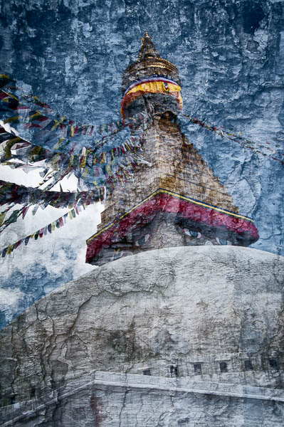 In camera double exposure, Boudhanath Stupa, Kathmandhu Nepal By Michael Smyth
